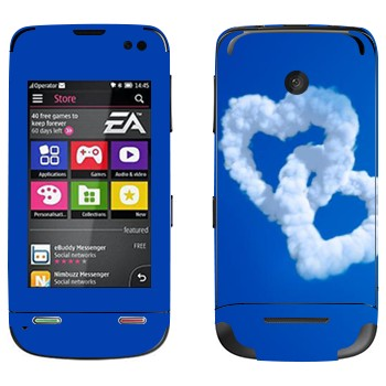 Виниловая наклейка «Два сердца из облаков» на телефон Nokia Asha 311