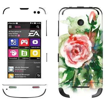 Виниловая наклейка «Роза акварелевой краской» на телефон Nokia Asha 311