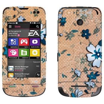 Виниловая наклейка «Васильковый рисунок» на телефон Nokia Asha 311