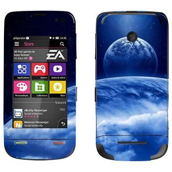 Виниловая наклейка «Вид на Землю и Луну из космоса» на телефон Nokia Asha 311