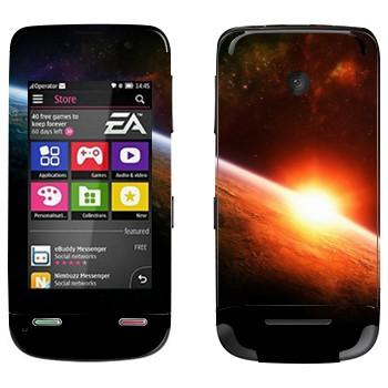 Виниловая наклейка «Восход солнца на орбите Земли» на телефон Nokia Asha 311