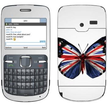 Виниловая наклейка «Флаг Британии на крыльях бабочки» на телефон Nokia C3-00