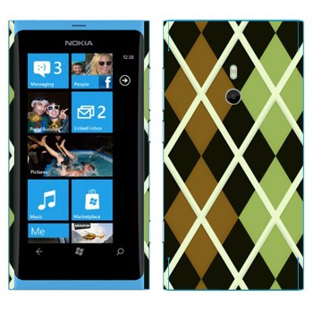 Виниловая наклейка «Черно-коричневые-зеленые ромбы» на телефон Nokia Lumia 800