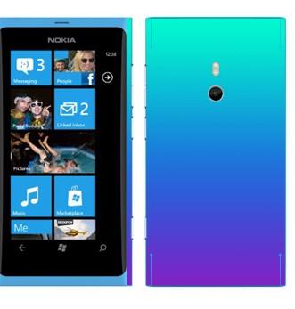 Виниловая наклейка «Градиент от голубого к фиолетовому» на телефон Nokia Lumia 800