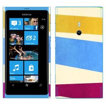 Виниловая наклейка «Желтая, голубая, пурпурная полосы» на телефон Nokia Lumia 800