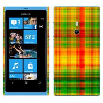 Виниловая наклейка «Желто-зеленые и красные клеточки» на телефон Nokia Lumia 800