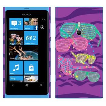 Виниловая наклейка «Клубные разноцветные очки» на телефон Nokia Lumia 800