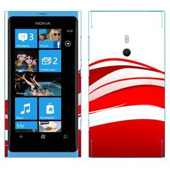 Виниловая наклейка «Красные волны» на телефон Nokia Lumia 800