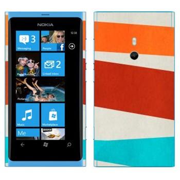 Виниловая наклейка «Оранжевая, коричневая, голубая полосы» на телефон Nokia Lumia 800