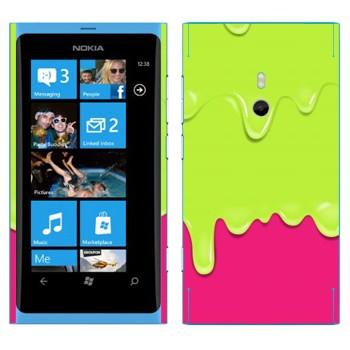 Виниловая наклейка «Потёки зелено-розовые» на телефон Nokia Lumia 800