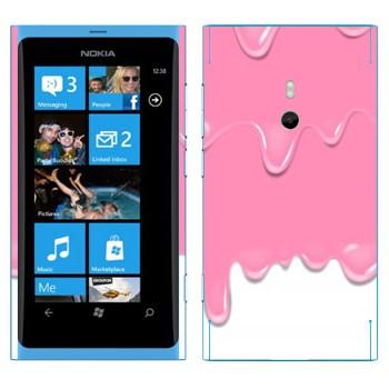 Виниловая наклейка «Потёки розовые-белые» на телефон Nokia Lumia 800