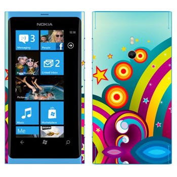 Виниловая наклейка «Радуга и цветная фантазия» на телефон Nokia Lumia 800