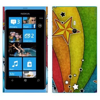 Виниловая наклейка «Радуга и звезды» на телефон Nokia Lumia 800