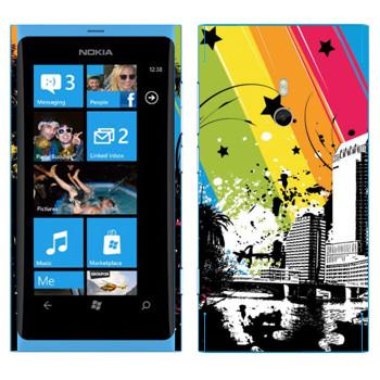 Виниловая наклейка «Радуга над городом» на телефон Nokia Lumia 800