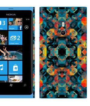 Виниловая наклейка «Разноцветные круги и ромбы» на телефон Nokia Lumia 800
