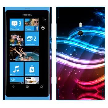 Виниловая наклейка «Разноцветные волны света» на телефон Nokia Lumia 800