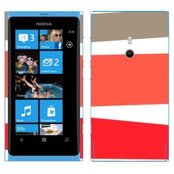 Виниловая наклейка «Серая, розовая, красная полосы» на телефон Nokia Lumia 800
