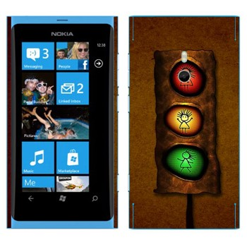 Виниловая наклейка «Светофор с человечком» на телефон Nokia Lumia 800