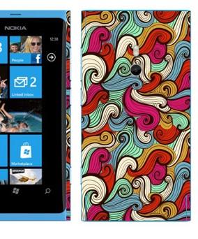 Виниловая наклейка «Волны нарисованные абстрактные» на телефон Nokia Lumia 800