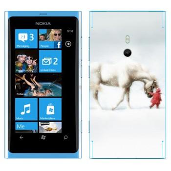 Виниловая наклейка «Белая лошадь и ребенок» на телефон Nokia Lumia 800