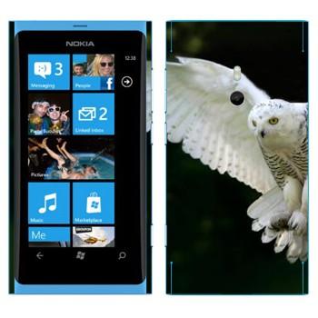 Виниловая наклейка «Белая сова в полете» на телефон Nokia Lumia 800