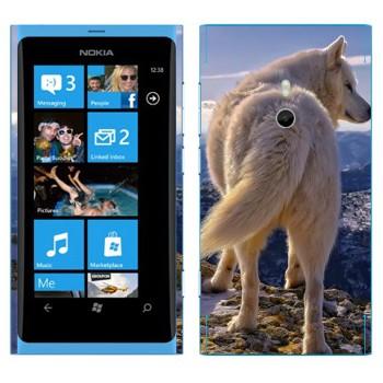 Виниловая наклейка «Белый волк» на телефон Nokia Lumia 800
