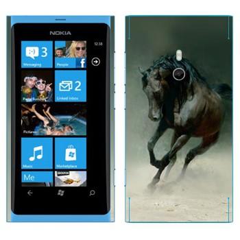Виниловая наклейка «Черная лошадь» на телефон Nokia Lumia 800