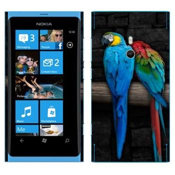 Виниловая наклейка «Два попугая Ара» на телефон Nokia Lumia 800