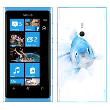 Виниловая наклейка «Голубая рыбка» на телефон Nokia Lumia 800