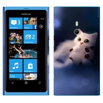 Виниловая наклейка «Кошка и маленькая панда» на телефон Nokia Lumia 800