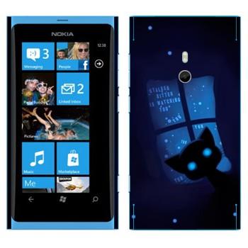 Виниловая наклейка «Кошка ночью в окне» на телефон Nokia Lumia 800