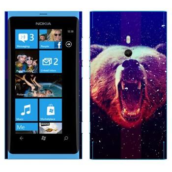 Виниловая наклейка «Рычащий медведь» на телефон Nokia Lumia 800