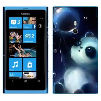 Виниловая наклейка «Панда и мыльный пузырь» на телефон Nokia Lumia 800