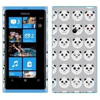 Виниловая наклейка «Панда-смайлы» на телефон Nokia Lumia 800