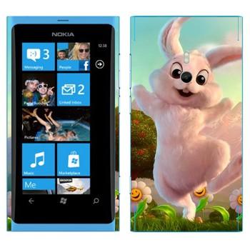 Виниловая наклейка «Розовый кролик» на телефон Nokia Lumia 800