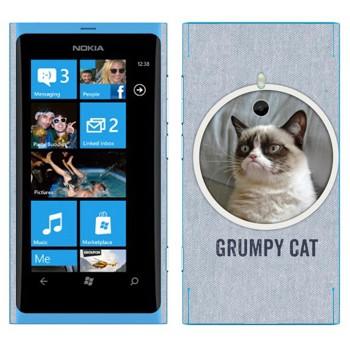 Виниловая наклейка «Сердитый кот фото» на телефон Nokia Lumia 800