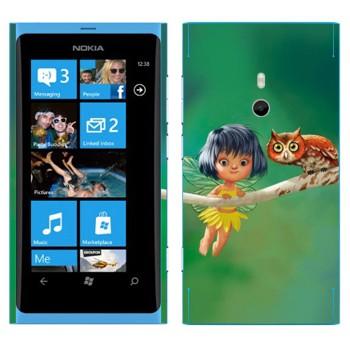 Виниловая наклейка «Сова и маленькая фея» на телефон Nokia Lumia 800