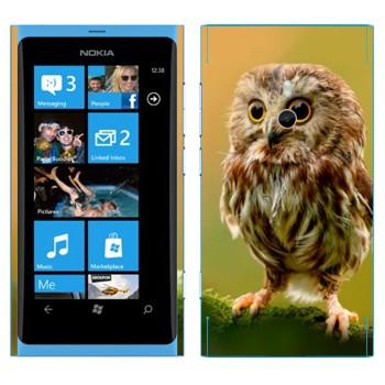 Виниловая наклейка «Сова в лесу» на телефон Nokia Lumia 800