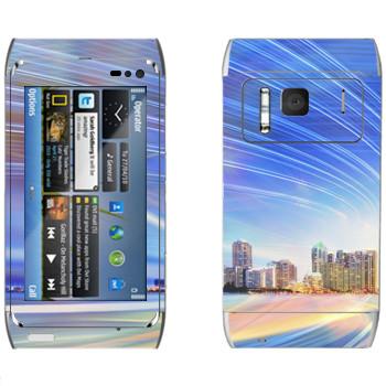 Виниловая наклейка «Огни над Майами» на телефон Nokia N8