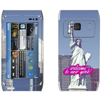 Виниловая наклейка «Статуя Свободы  - Добро пожаловать в Нью-Йорк» на телефон Nokia N8