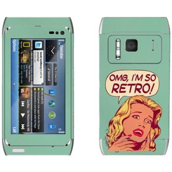 Виниловая наклейка «OMG I'm So retro» на телефон Nokia N8