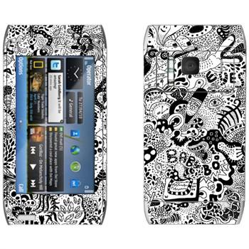 Виниловая наклейка «WorldMix черно-белый» на телефон Nokia N8