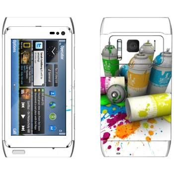 Виниловая наклейка «Баллончики с краской» на телефон Nokia N8