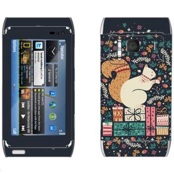 Виниловая наклейка «Белка на подарках» на телефон Nokia N8