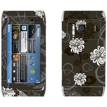 Виниловая наклейка «Белые цветы на сером фоне» на телефон Nokia N8