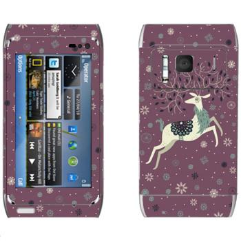 Виниловая наклейка «Белый олень» на телефон Nokia N8