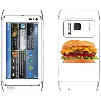 Виниловая наклейка «Большой гамбургер» на телефон Nokia N8