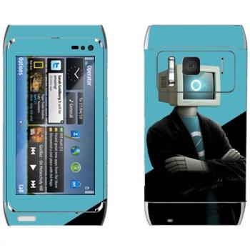 Виниловая наклейка «Человек-компьютер» на телефон Nokia N8