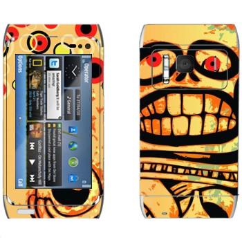 Виниловая наклейка «Череп Ацтеки» на телефон Nokia N8