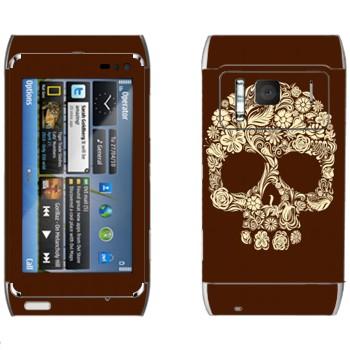 Виниловая наклейка «Череп цветами» на телефон Nokia N8